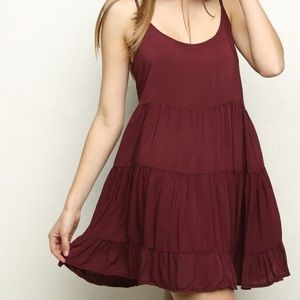 BRANDY MELVILLE MAROON TIERED DRESS